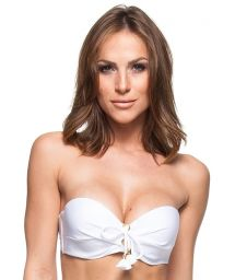White bandeau top with tassels and rings - TOP LUZ DA MANHA