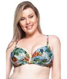 Plus-size floral balconette bikini top - TOP MAR COLORIDO