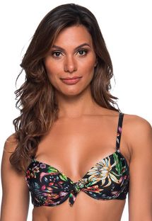 Floral black underwired balconette top - TOP NO DREAM