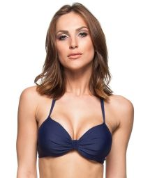 Navy blue pleated balconette bikini top - TOP NOVA ZELANDIA