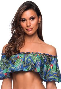 Colorful tropical bandeau top with ruffle shoulders - TOP OMBRO ARARA AZUL