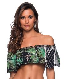 Tropical print ruffled bandeau top with zigzag - TOP OMBRO BOTANICAL