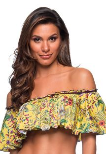 Yellow floral bandeau top with ruffle shoulders - TOP OMBRO DREAM AMARELA