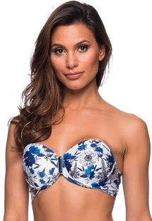 Blue & white floral balconette top with stones - TOP PEDRA ATOBA