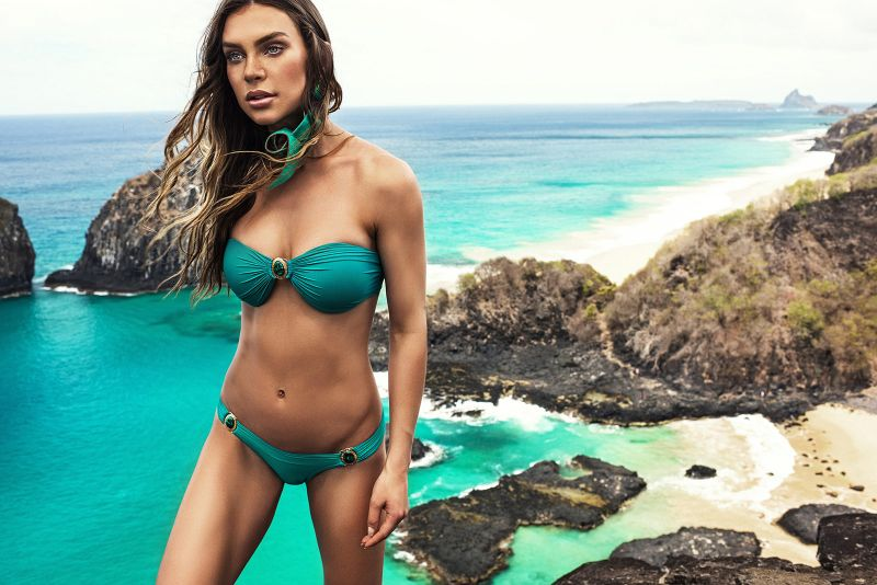 Green bandeau top with stones - TOP PEDRAS ARQUIPELAGO