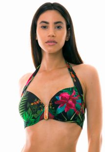Floral black balconette bikini top - TOP PLAYA BONITA