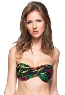 Top bandeau negro con estampado tropical - TOP PRAIA BELA