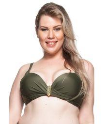 Plus-size khaki balconette bikini top - TOP PRAIA DA LAGOA