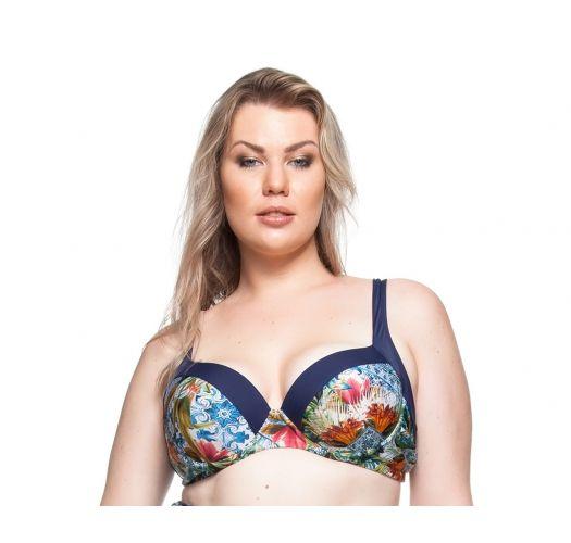 Μπαλκονέ σουτιέν μαγιό με φλοράλ μοτίβα και μπλε τελείωμα, για εύσωμες γυναίκες - TOP PRAIA DAS FONTES