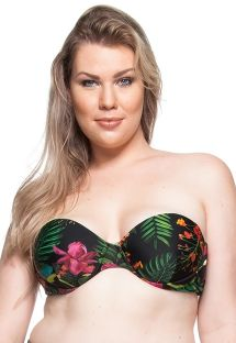 Plus-size tropical black bandeau top - TOP PRAIA DE GUADALUPE