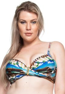 Plus-size balconette bikini top with stones - TOP PRAIA DE PILAR