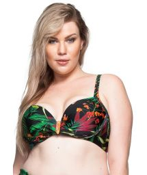 Plus-size tropical black balconette top with stones - TOP PRAIA DO FAROL