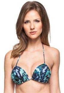 Voorgevormd bikinitopje met plooitjes en blauwe print - TOP RECIFE PROTEGIDO