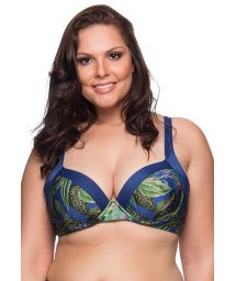 Tropical/navy balconette top - plus size - TOP RECORTES ARARA AZUL