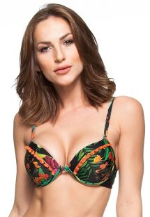 Top balconette push-up estampado floral negro - TOP RIO VERDE