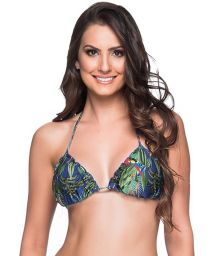 Colorful tropical triangle bikini top with pompon - TOP RIPPLE ARARA AZUL