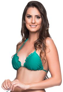 Green triangle top with pom poms and wavy esges - TOP RIPPLE ARQUIPELAGO