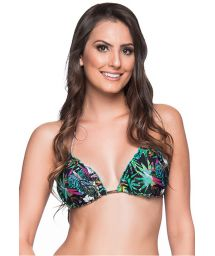 Colorful floral triangle bikini top with pompon - TOP RIPPLE ATALAIA