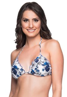 Floral blue triangle bikini top with pompon - TOP RIPPLE ATOBA