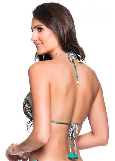 Floral green triangle bikini top with pompon - TOP RIPPLE TROPICAL GARDEN