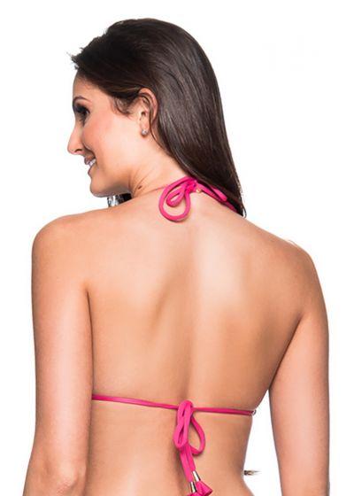 Pink triangle bikini top with pompon - TOP RIPPLE TROPICALIA