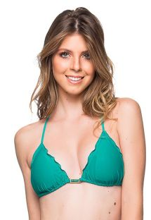 Green triangle top with stones and wavy edges - TOP ROLOTE ARQUIPELAGO