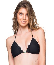 Black triangle top with stones and wavy edges - TOP ROLOTE PRETO