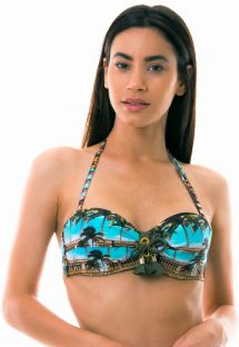Bandeau padded top with Cuban print - TOP SETE MILHAS