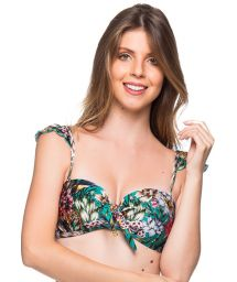 Green floral bandeau top with adjustable straps - TOP TIRAS TROPICAL GARDEN