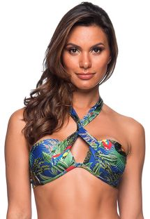 Colorful twisted bandeau top - TOP TQC TRANSPASSADO ARARA AZUL
