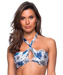 Blue & white floral twisted bandeau top - TOP TQC TRANSPASSADO ATOBA