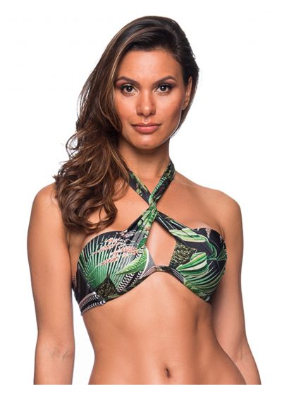 Green tropical front-crossed bandeau top - TOP TQC TRANSPASSADO BOTANICAL