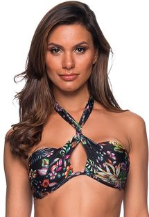 Black floral twisted bandeau top - TOP TQC TRANSPASSADO DREAM