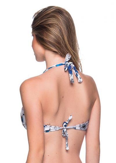 Accessorized blue & white floral halter top - TOP TURBINADA ATOBA