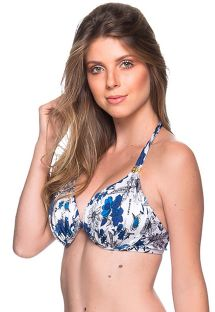 Accessorized blue & white floral halter top - TOP TURBINADA ATOBA