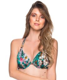 Accessorized green floral halter top - TOP TURBINADA TROPICAL GARDEN