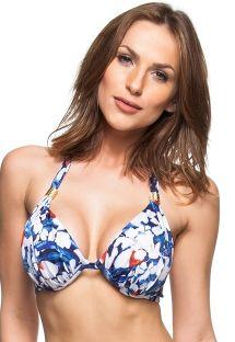 Blue & white floral pleated bikini top - TOP VEU DE NOIVA