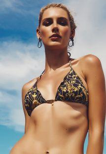 Parte superior de bikini triangular estilo barroco negro y dorado - SOUTIEN ACARAJE