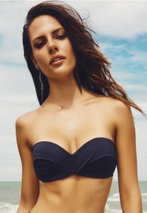 Retro-style black bandeau bikini top - SOUTIEN CANNES