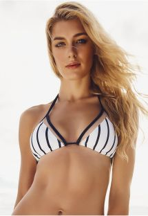 Striped triangle bikini top with transparent details - SOUTIEN GUADALUPE
