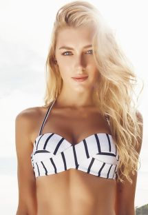 Striped two-tone retro-style bandeau top - SOUTIEN HAITI