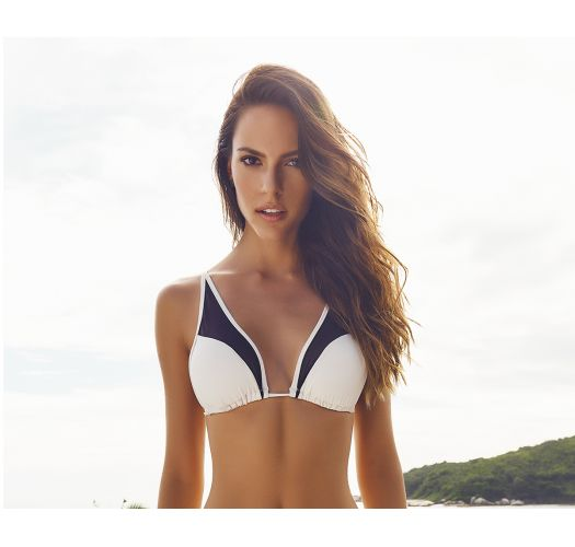987894f5151a4 Black And Cream Dual Material Triangle Bikini Top - Soutien Ilhas ...
