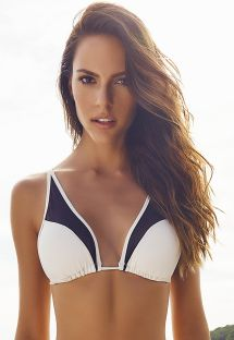 Black and cream dual material triangle bikini top - SOUTIEN ILHAS CANARIAS