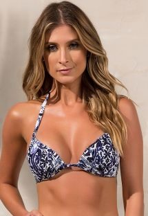 Fixed padded triangle bikini top in a navy and white print - SOUTIEN JANE RIVIERA BLUE