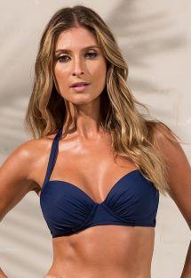 Navy blue padded underwire balconette bikini top - SOUTIEN LOREN
