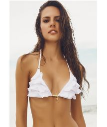 White triangle bikini top with rufflle detailing - SOUTIEN PROVENCE