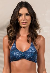 Top bikini  sujetador deportivo estampado azul con múltiples tiritas - SOUTIEN RIALTO