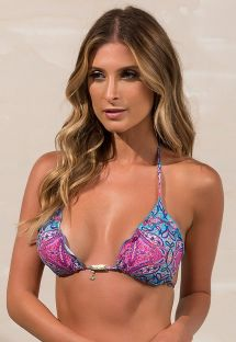 Blue and pink triangle bikini top with wavy edges - SOUTIEN SHOPHIA TULUM