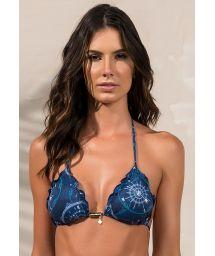Navy blue triangle bikini top with scallop trim - SOUTIEN SOPHIA AZULIC