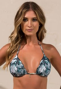 Triangle bikini top with wavy edges and palm tree print - SOUTIEN SOPHIA COCONUT